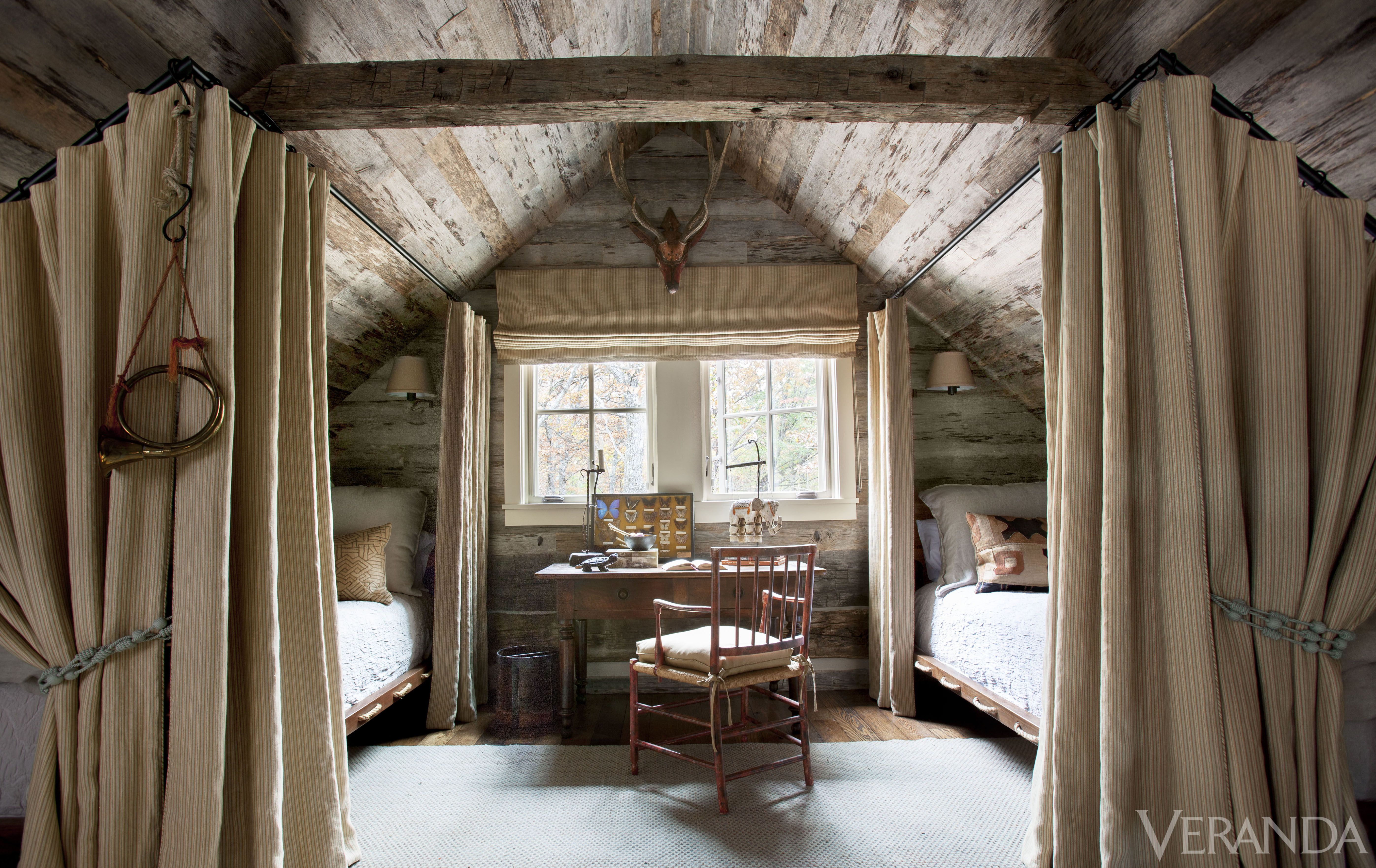 Loft bedroom privacy  In a sleeping loft curtained rope beds are tucked under the eaves