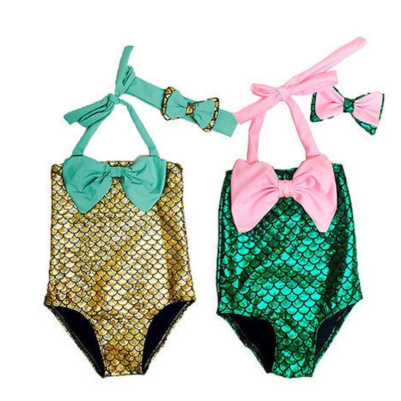 US Toddler Kids Girl Mermaid Swimwear Bathing Swimsuit Swimming Costume Headband