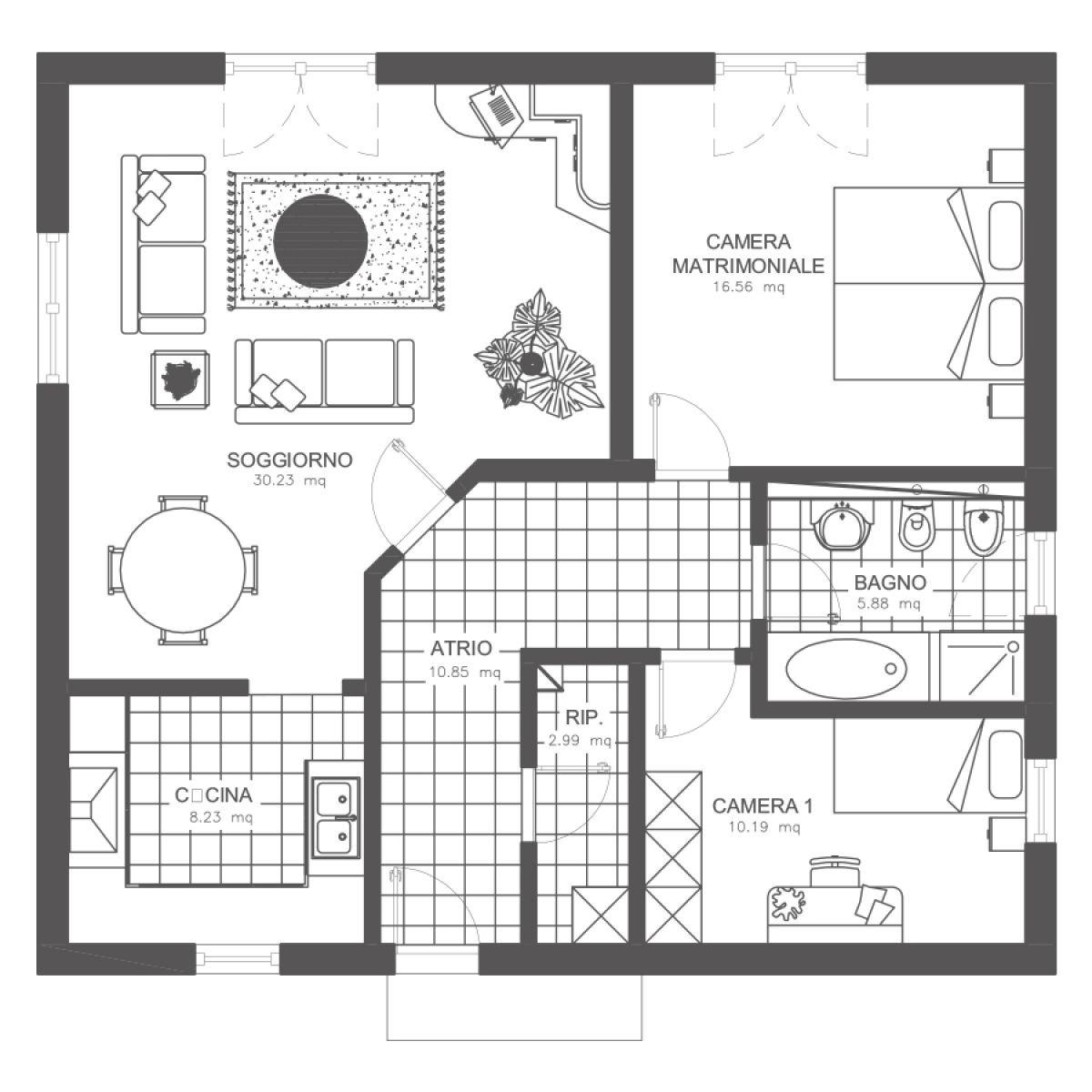 Progetto Appartamento 85 Mq pin su case