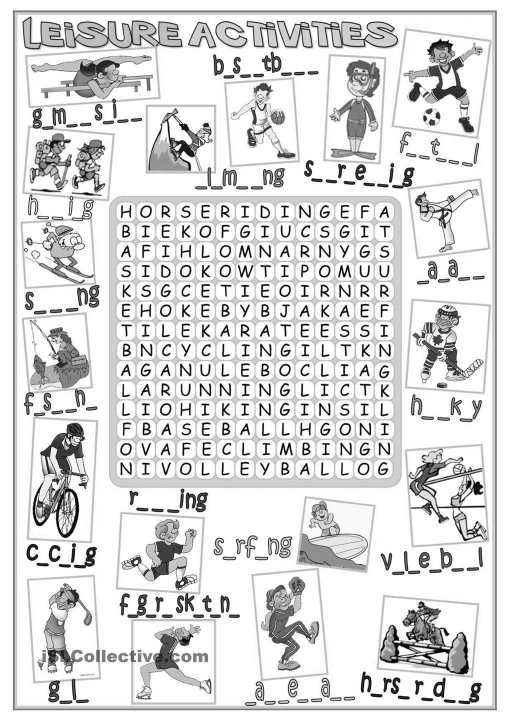 Leisure activities - wordsearch | English worksheets | Pinterest ...