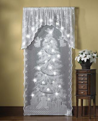 Lighted Holiday Angels Christmas Curtain Panel This Is Actually Pretty  Nifty I Wonder If I Can
