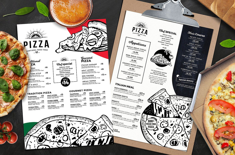 A4 Pizza Menu Templates Menu Template Pizza Menu Design Menu