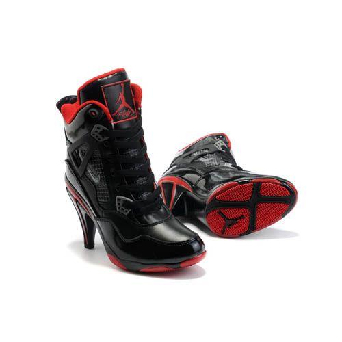 9eb5e9a9ac9c50 Detachable cowl Nike Air Jordan 4 Heels Black White Red For Women-are jordan  high heels real