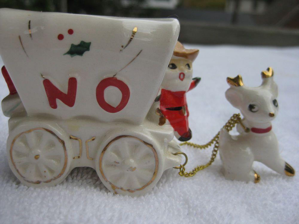Vintage noel mg christmas cowboy santa stagecoach candle holders