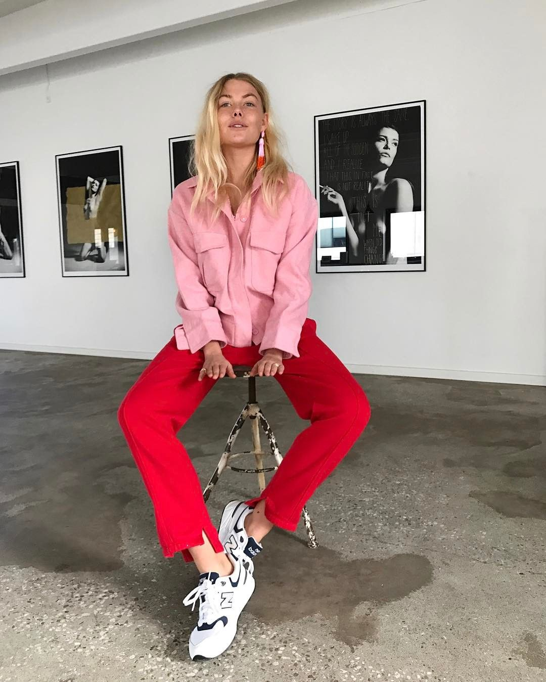 color blocking pink and red outfit with sneakers and