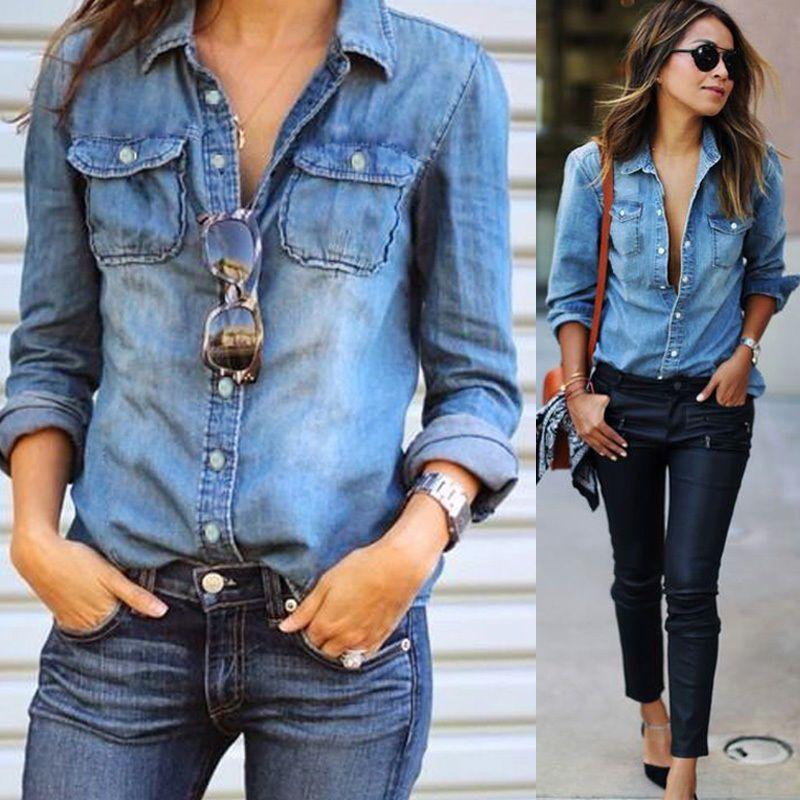 0d402b6e Fashion Retro Womens Casual Blue Jean Denim Long Sleeve Shirt Tops Blouse  Jacket