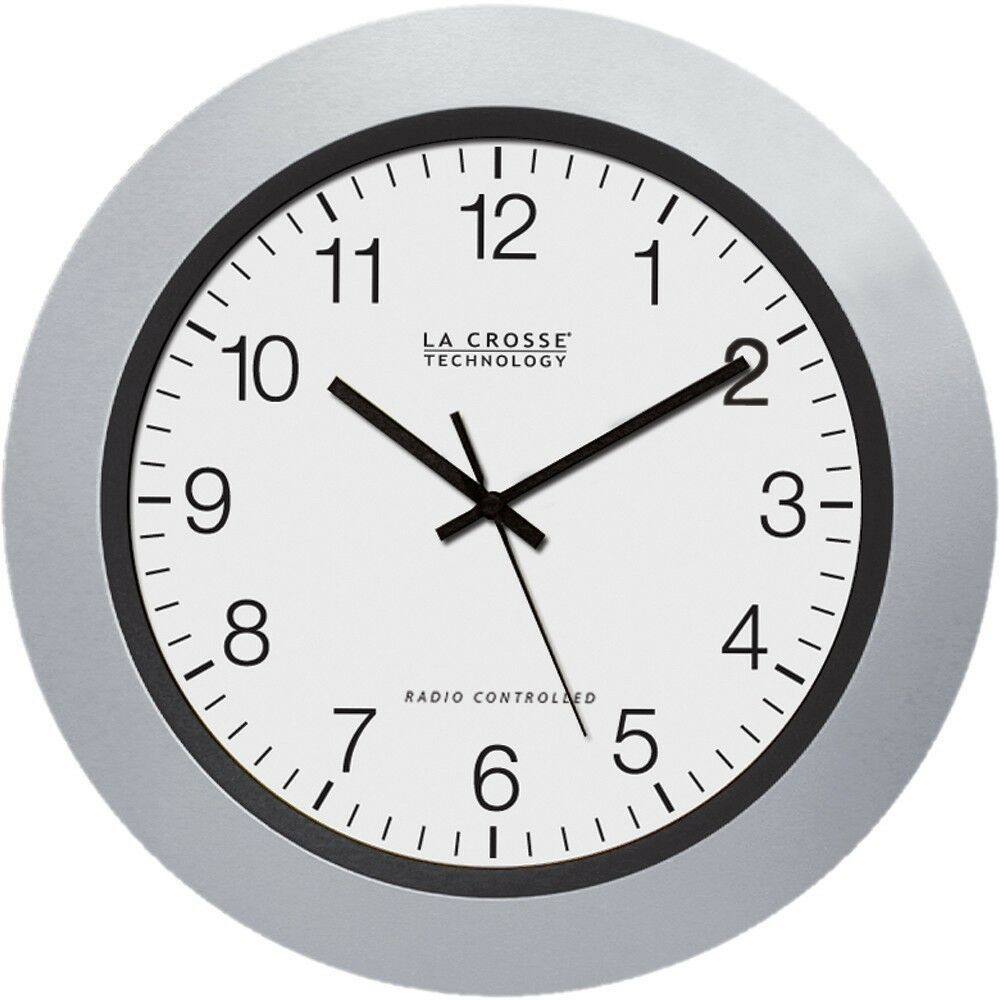 Details About La Crosse 10 Inch Atomic Automatic Silver Analog Wall Clock Ships From Us Seller Atomic Wall Clock Wall Clock Clock