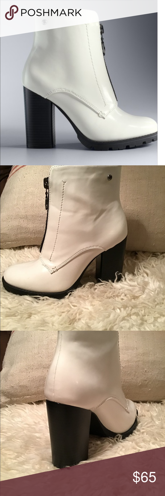 8e7ee500bb0d76 White Grouse ankle boots by Simply Vera Wang. White ankle boots by Simply  Vera Vera Wang in size 8. Worn once. *Block heel *Rounded toe *Front zipper  ...