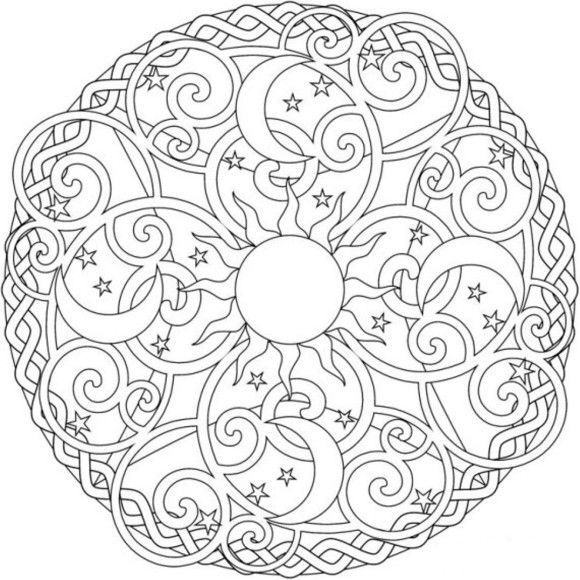 pyrography box sun moon sun moon and stars mandala coloring pages