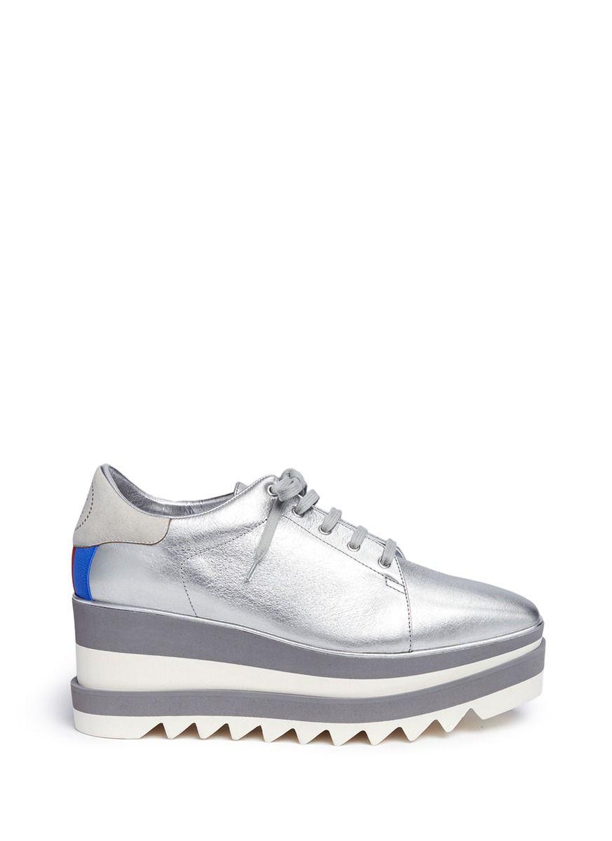 63c5cc717fed STELLA MCCARTNEY- Sneak-Elyse  metallic faux leather platform Derbies  Shoes   STELLA MCCARTNEY