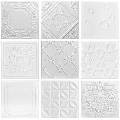 3 Full Styrofoam Tiles Sample Pack Styrofoam Ceiling Tiles Ceiling Tiles Diy Drop Ceiling Tiles