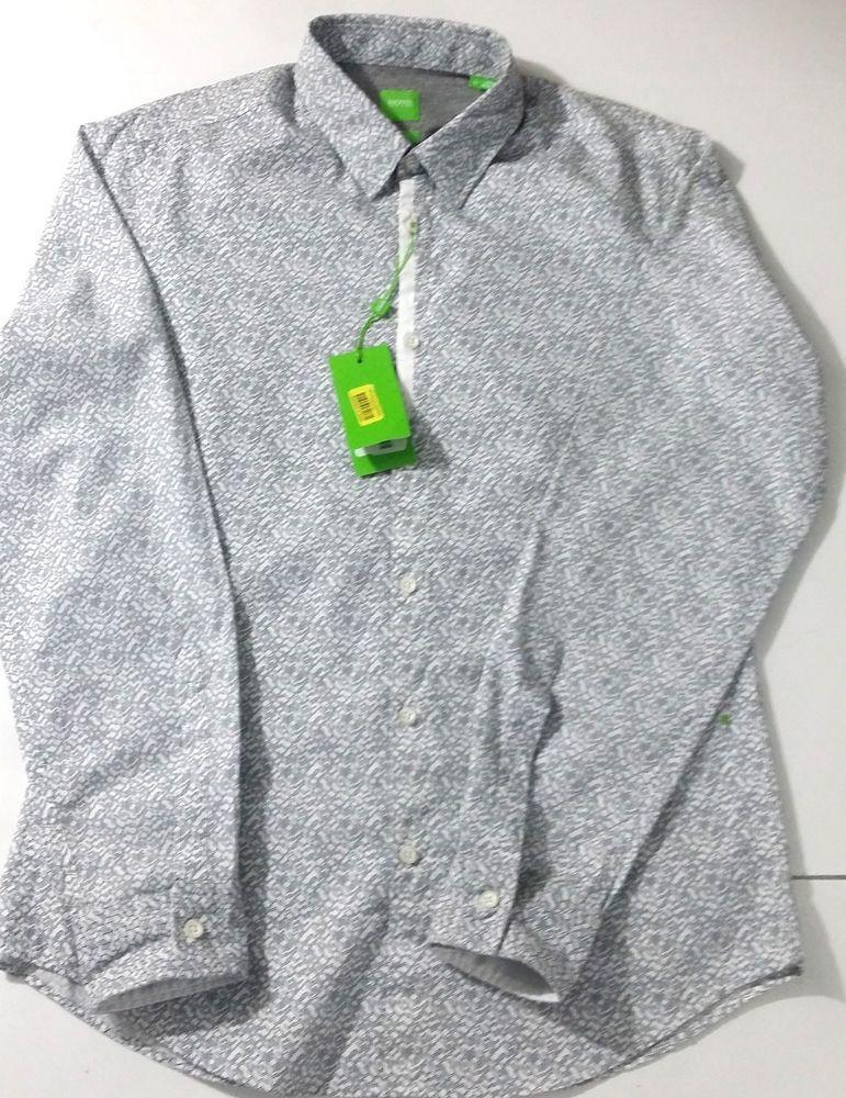 Boss Hugo Boss Mens Berla Slim Fit Cotton Shirt M Long Sleeve Gray/white  pattern