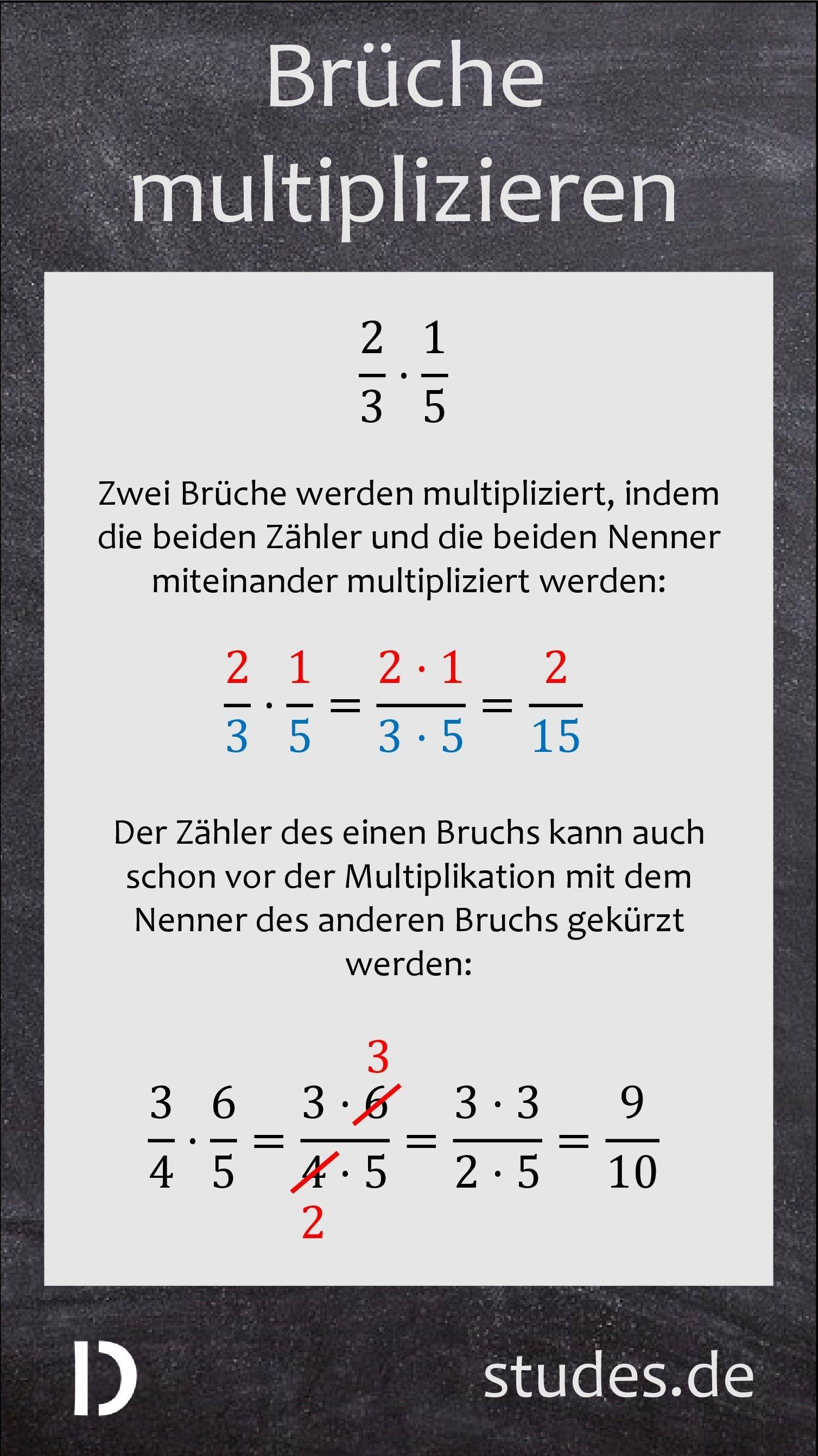 Brüche multiplizieren: Zwei Brüche werden miteinander multipliziert ...