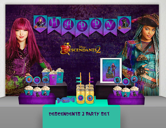 Descendants 2 Birthday PartyDescendants Party DecorationDescendants BannerDescendants Invitatio
