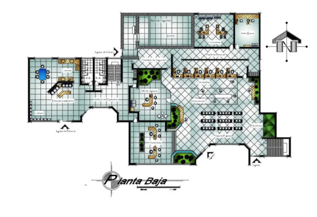 43x27m office first floor plan is given in this Autocad drawing file Download now