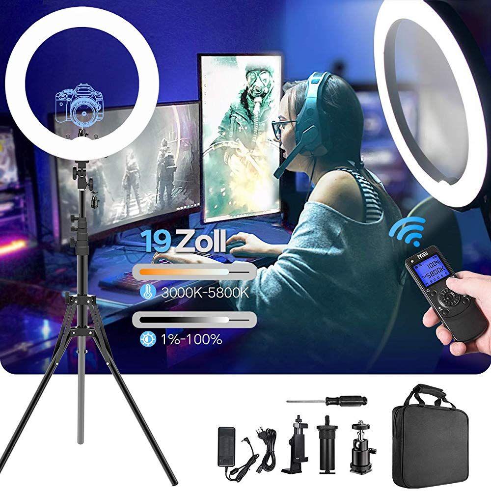 Ringlichtverbesserte Version 19 Zoll Led Aussere Einstellbare Farbtemperatur 3000 5800k Mit Standfussdimmbares Video Led Licht Kit Fur Youtu Led Licht Led Kamera