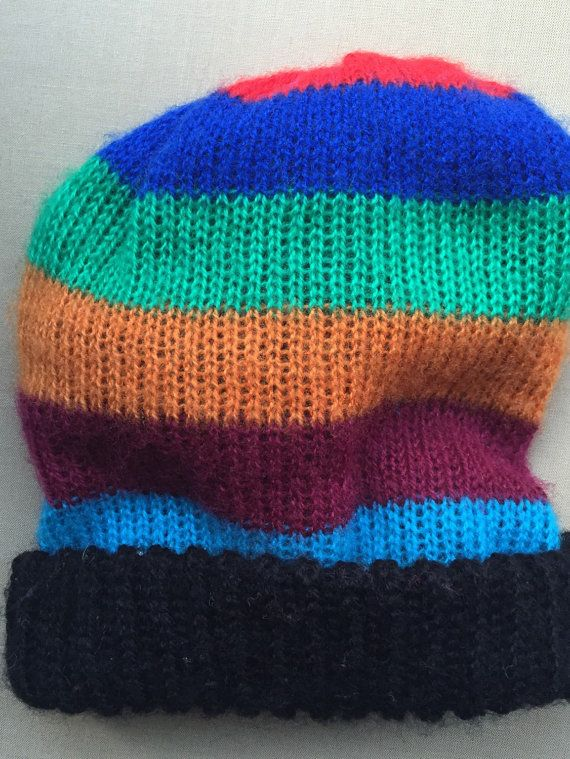 toddlers beanie hat knitted stripes by lillamormor on Etsy