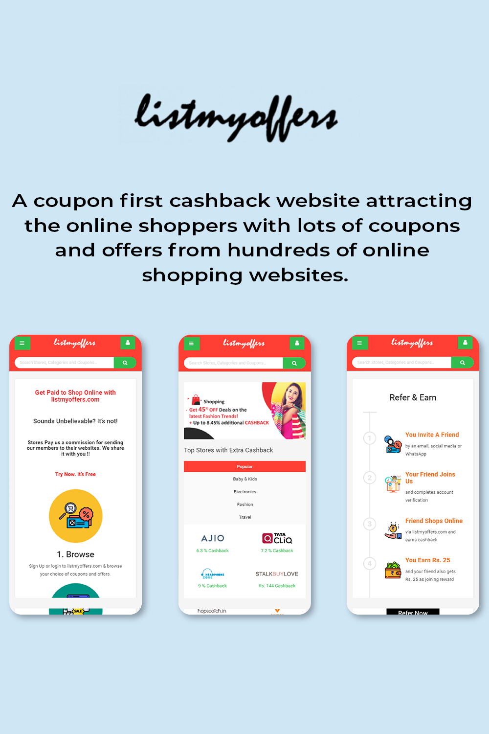 A coupon cashback Script website developed by EnactSoft
