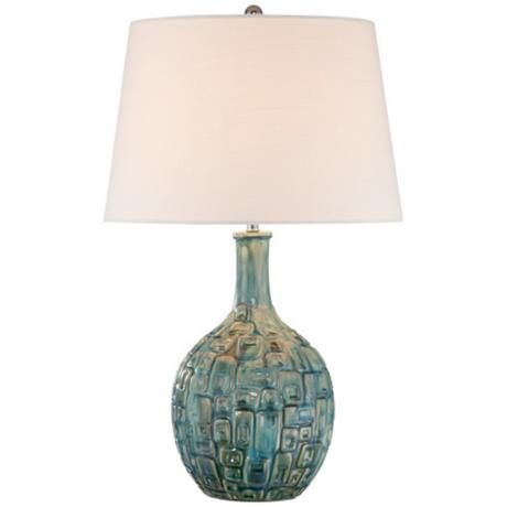Mid Century Teal Ceramic Gourd Table Lamp Ulloa Living