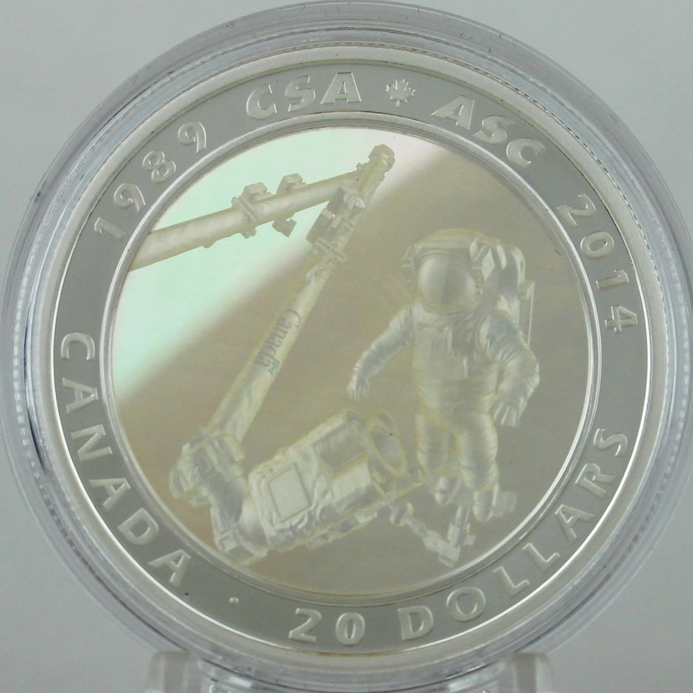 Canada 2014 Canadian Space Agency CSA 25th $20 Silver Proof Achromatic Hologram