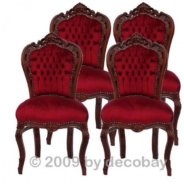 Sitzgruppe Barockmöbel Rot Braun 4 Barock Stühle Set Esszimmerstühle Barock  Möbel Set Möbel U0026 Sonderangebote
