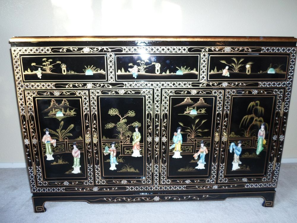 Oriental Asian Chinese Anese Mother Of Pearl Black Lacquer Dresser Furniture