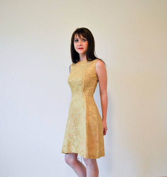 Vintage Early 1960s Golden Yellow Jacquard by RockAndRollVintage, $120.00