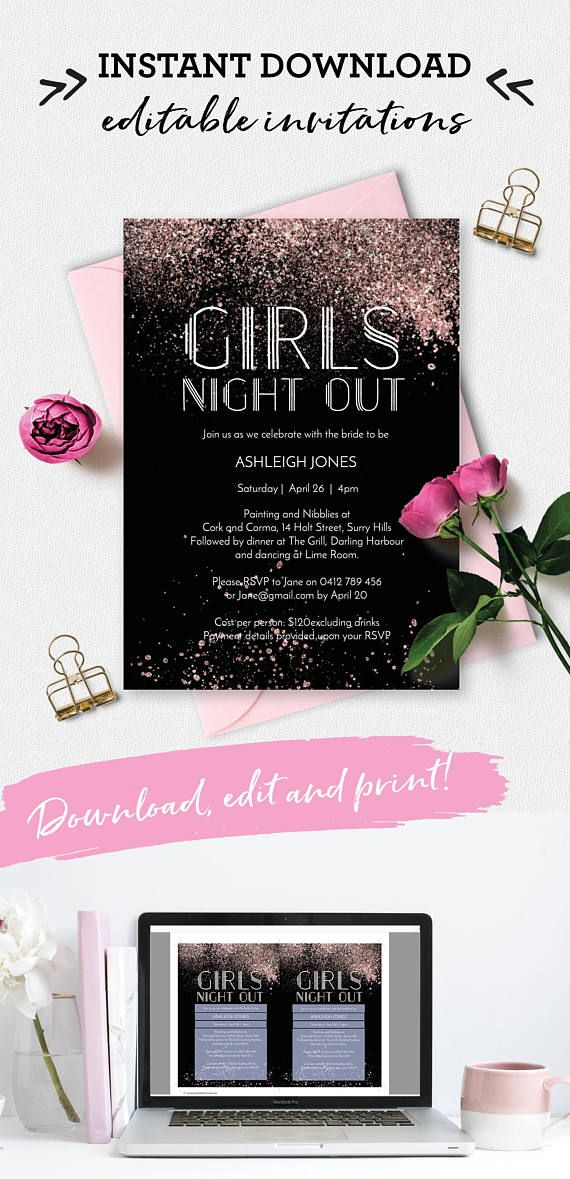 Bachelorette party invitation girls night out Invitation Hens