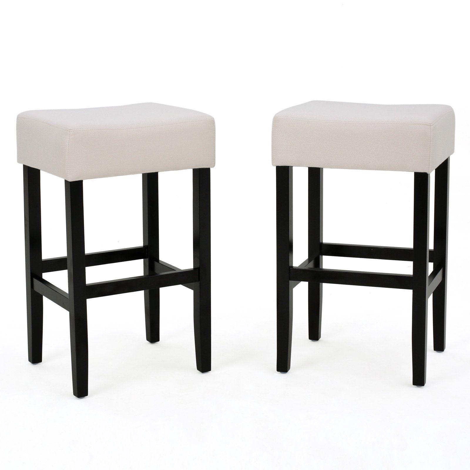 Ligan Upholstered Backless Counter Stools Set Of 2 Beige