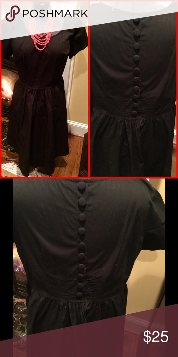 Black cotton dress with sash tie at waist Dress by Eshakti in black.  Short sleeve, size 16W.  Has button detail down the back.  A line full skirt. Hits below knee.  Round neckline. eshakti Dresses Midi