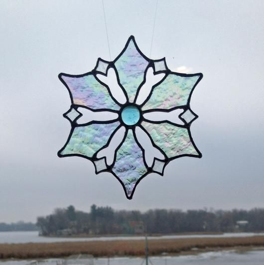 Snowflake - Stained glass snowflake with glass gem