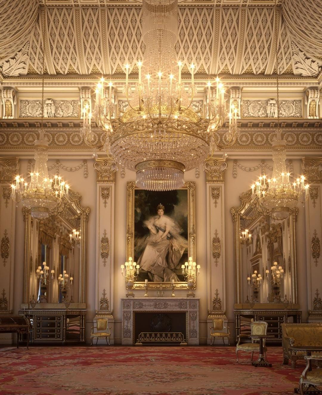 A Portrait Of Queen Alexandra Hanging In The White Drawing Room At Buckingham Palace Britain Buckingham Palace Palace Interior Palace
