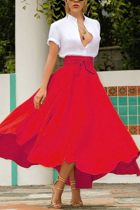Fashion Casual Elegant Red Skirt (red/XL)