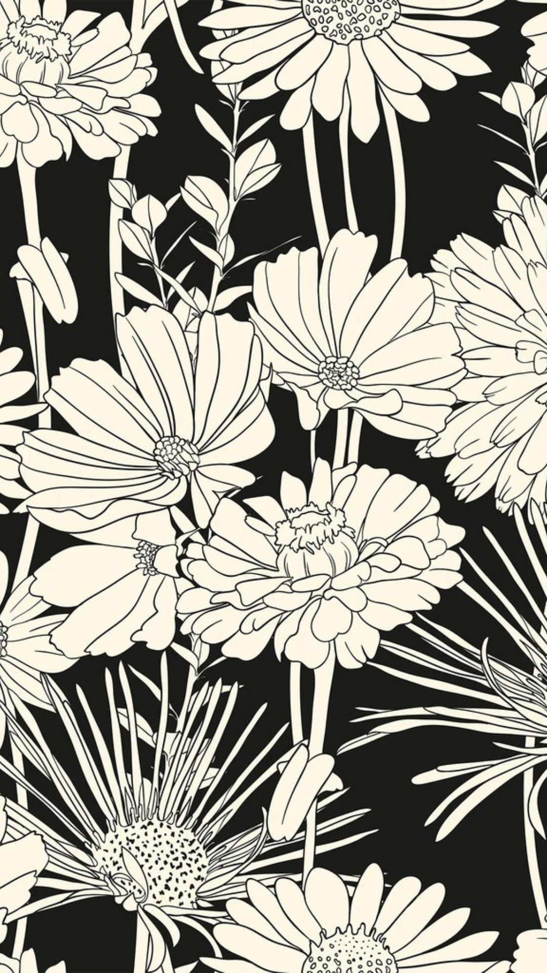 White And Black Hand Drawn Floral Peel And Stick Removable Wallpaper 5539 Folk Art Flowers Floral Drawing Flower Illustration