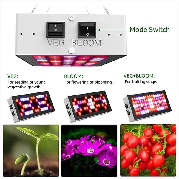 300w Led Grow Light Full Spectrum Plant Lights With Veg Bloom Switches 3 Modes Uk Plug Led Grow Lights Grow Lights For Plants Plant Lighting