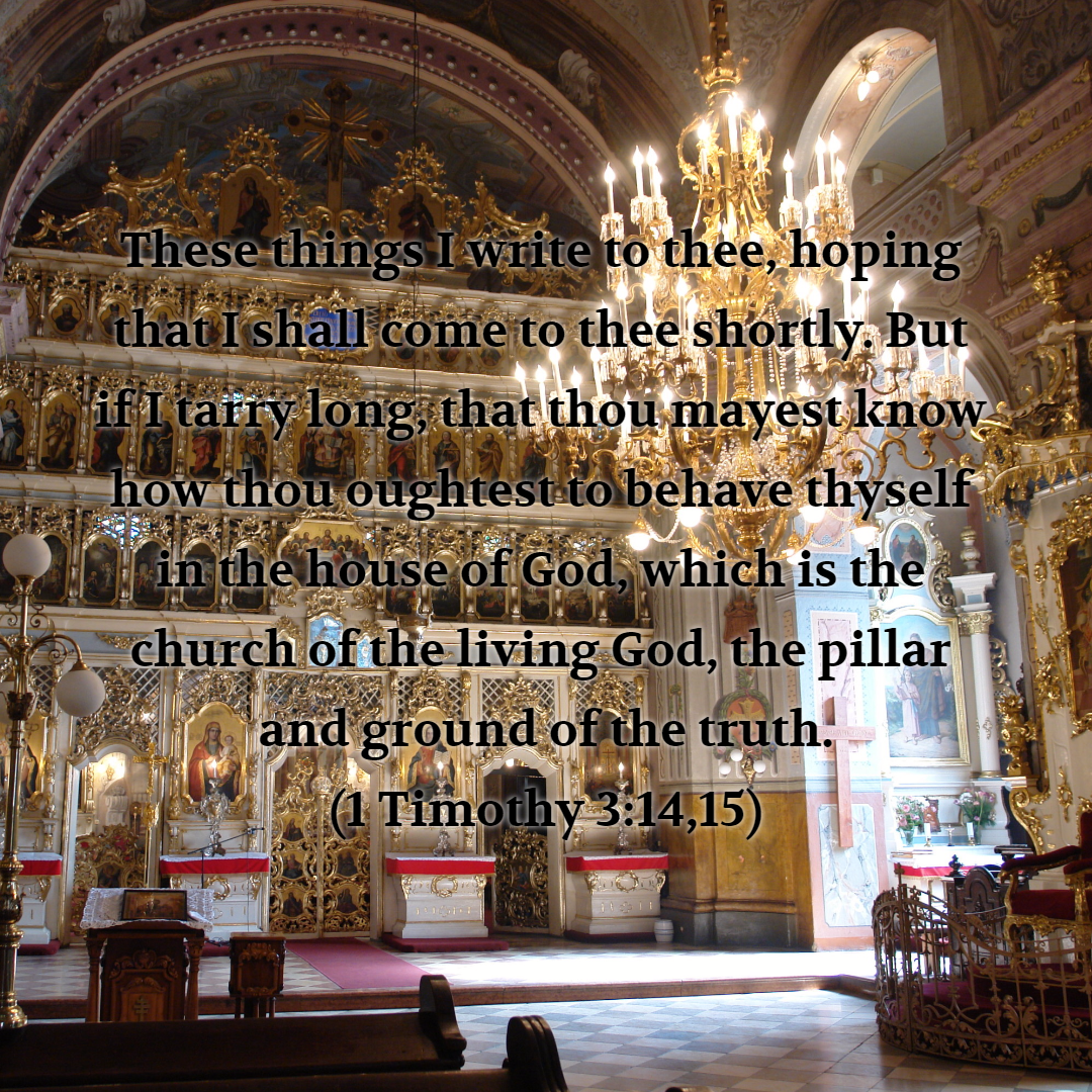 These things I write to thee hoping that I shall come to thee shortly But if I tarry long that thou mayest know how thou oughtest to behave thyself in the house of God which is the church of the living God the pillar and ...