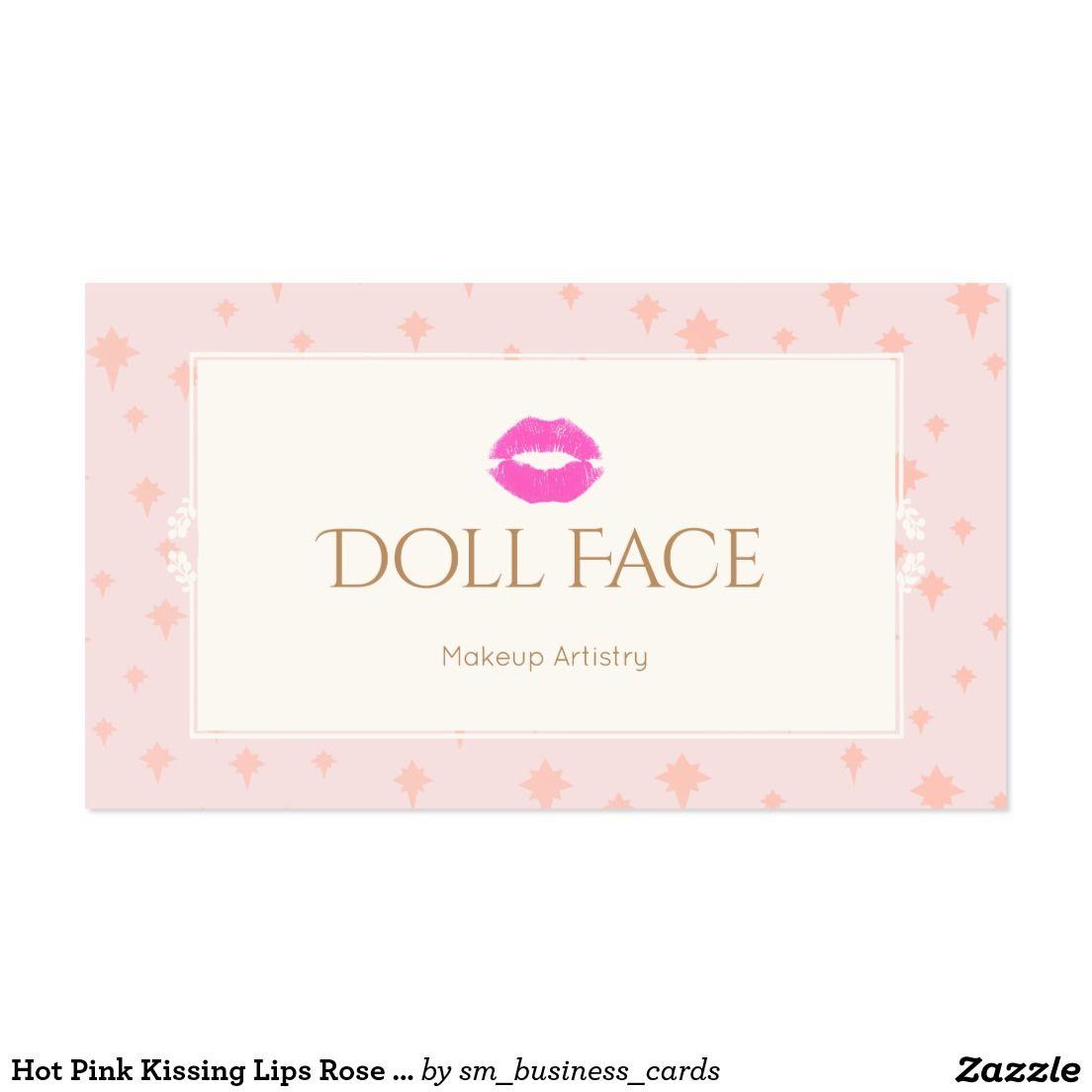 Cute Girly Hot Pink Kissing Lips Rose Makeup Artist Beauty ...
