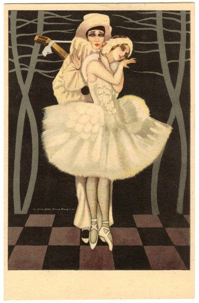 Postcard Italian Ballerina Pierrot Signed Nanni Fernet Branca | eBay