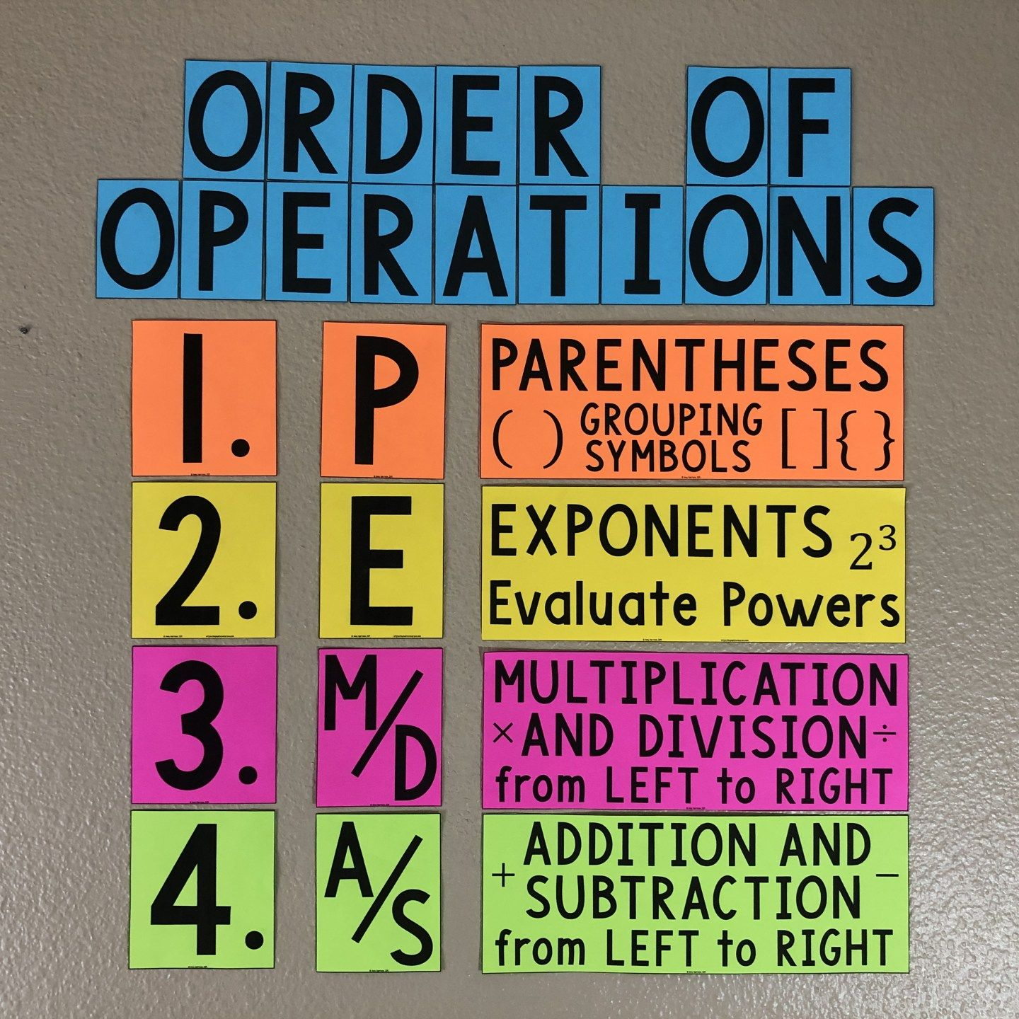Pemdas Order Of Operations Bulletin Board Poster Or Anchor