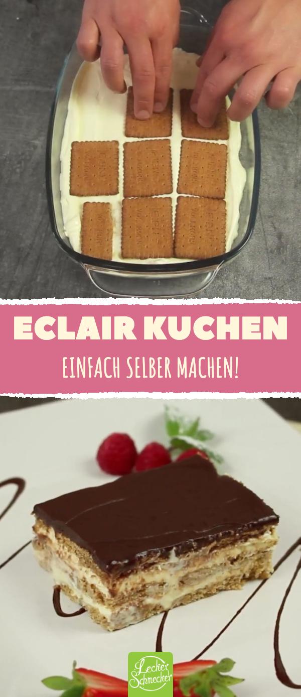 Eclair-Kuchen-Rezept ohne Backen mit Keksen und Pudding #einfachernachtisch