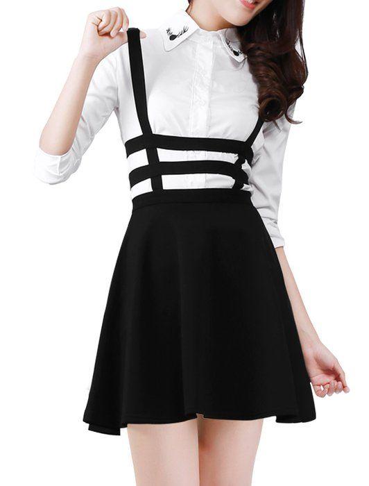 Allegra K Lady Elastic Waist Zip Back Cut Out Detail Suspender Skirt Black S