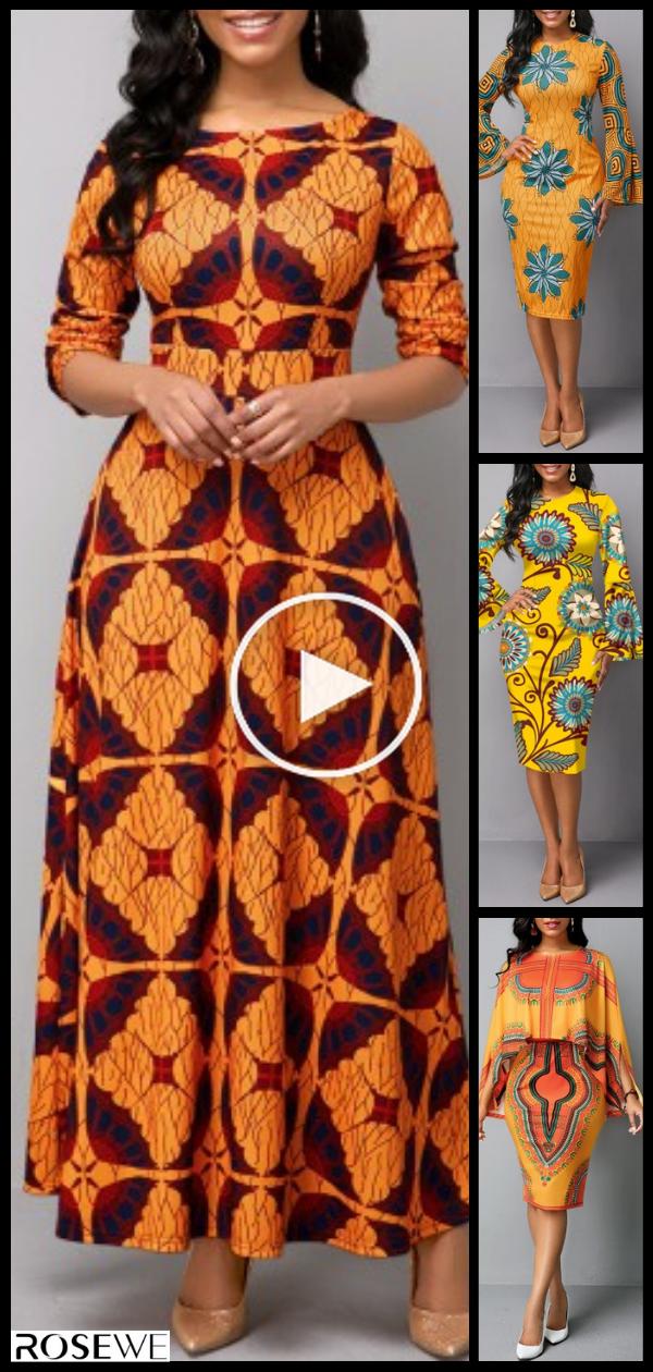Boot met lange mouwen Neck Tribal Print Maxi Dress in 2020 ...