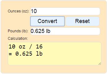 Convert Ounces To Pounds Weight Oz Lb Calculator 16