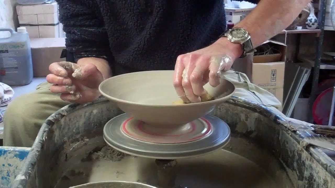 Throwing A Wide Shallow Oriental Shaped Bowl On The Wheel Clay Pottery Pottery Videos Thrown Pottery