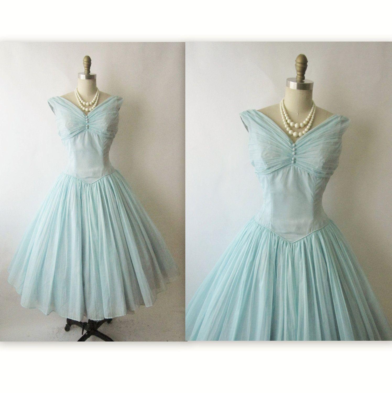 Us chiffon dress vintage us baby blue chiffon illusion full
