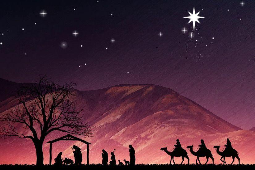 Christmas Nativity Scene. Shepherds Wise Me And Large
