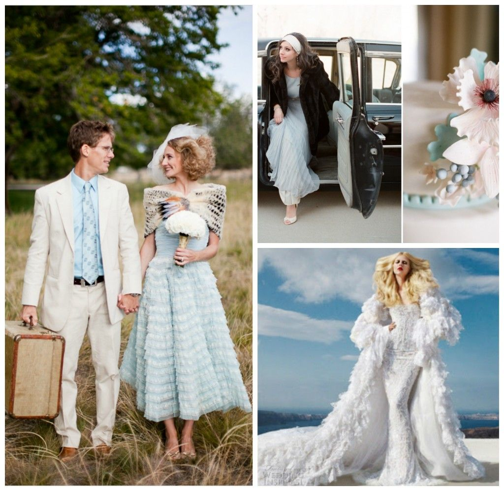 White and blue wedding dress  Here are some powder blue winter wedding ideas to stimulate the