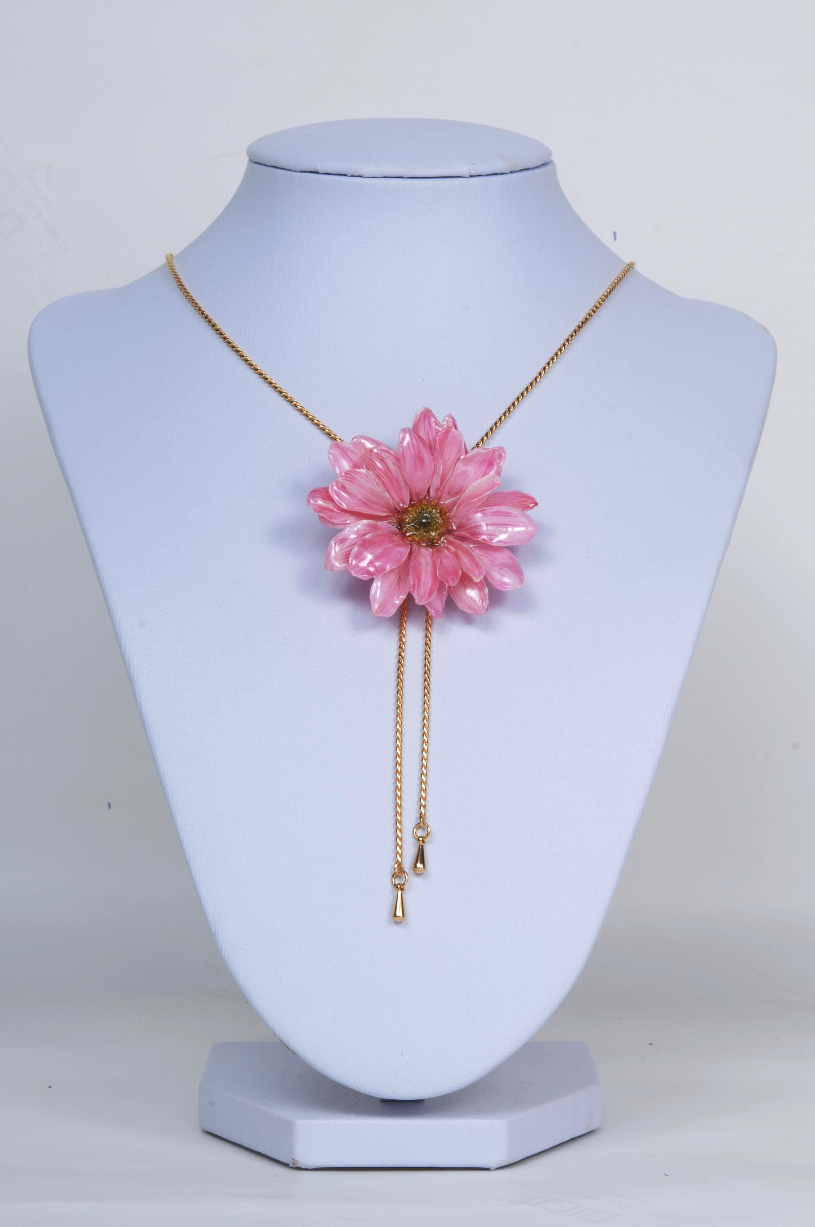Pink Necklace Pink Flower Pendant Necklace For Women Real Etsy Real Flower Jewelry Flower Jewellery Pink Flowers