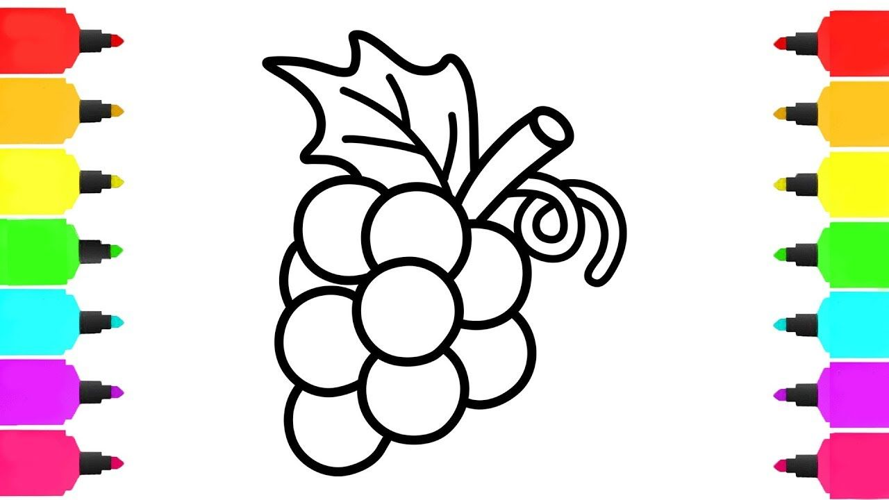 Bunch of Grapes Coloring Pages | How to Draw Fruits for Kids ...