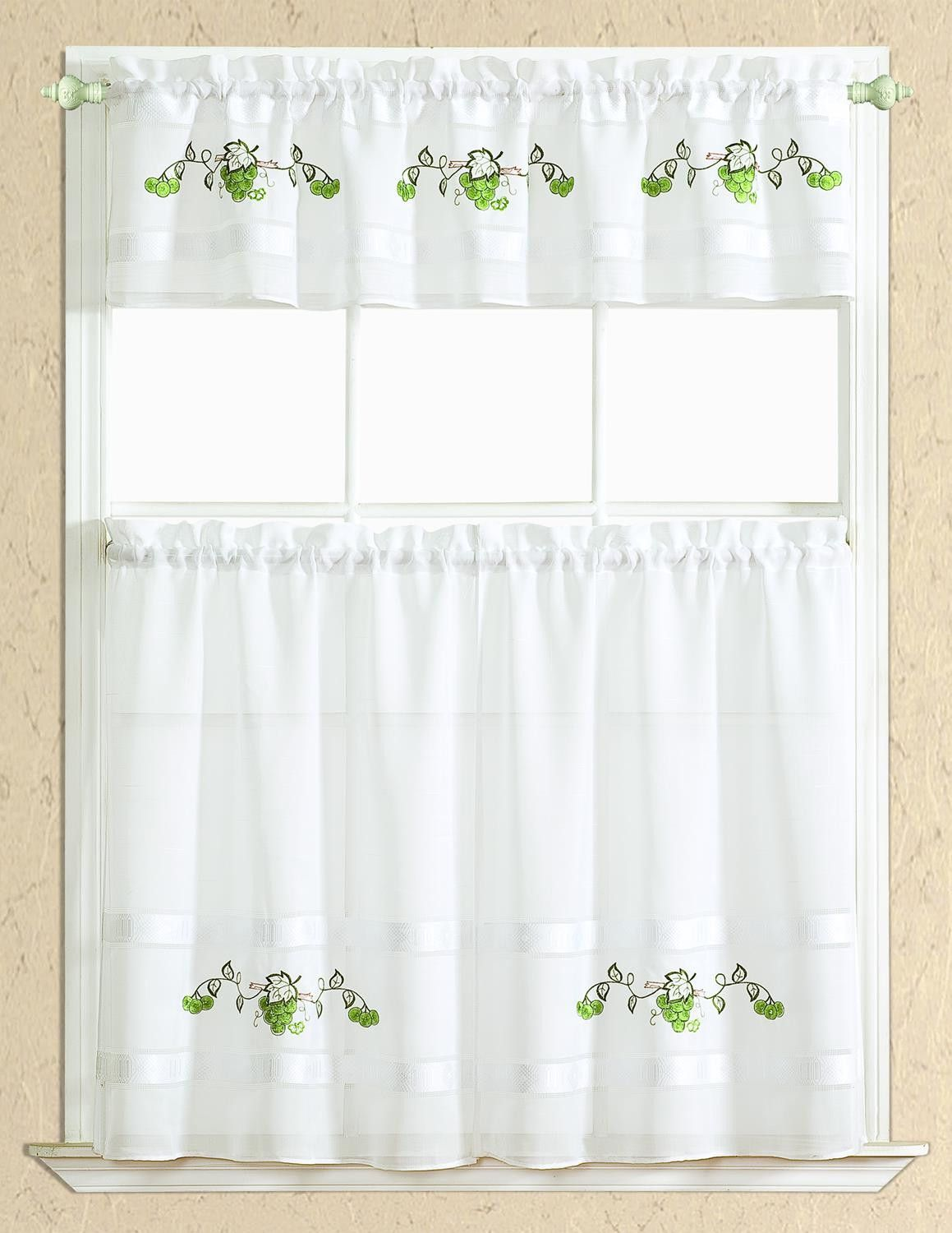 Spring Gkitchen Curtain Set Valance 60 X 14 Two Tiers